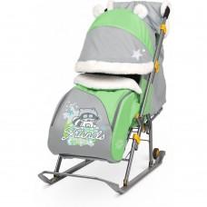 """Санки-коляска """"Ника детям 6"""" НД6 с енотом зеленый/серый"""