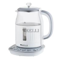 Чайник KELLI KL-1373 электрический стекло бело-серый 1,7л