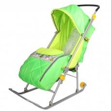 """Санки-коляска """"Тимка 2 комф+ зеленый витрина"""