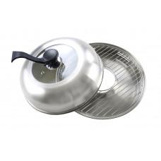 Сковорода гриль-газ D-520 нерж сталь с аниприг покрытием стеклянная крышка