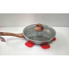 Сковорода VS-7553-22 с крышкой мраморн покрытие