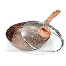 Сковорода VS-7553-28 с крышкой мраморн покрытие