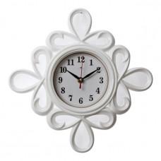 2513-100 Часы настенные ромб витой белый корпус d=13см