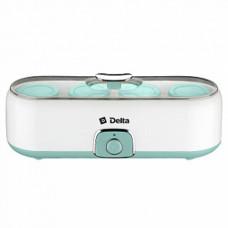 Йогуртница DELTA DL-8402 20Вт электрическая, 4 стеклянные баночки по 200мл белый с серо-зеленым