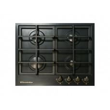 плита панель газовая De Luxe TG4_750231F-025 черная матовая, ручки латунь