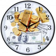 """3030-1102 Часы настенныве """"Доллары и слитки золота"""""""