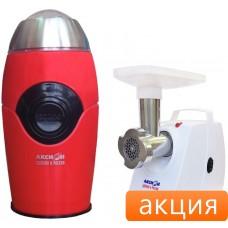 """Электромясорубка """"Аксион"""" М33.02+кофемолка КМ-22 красная"""