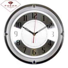 "3124-101 Часы настенные ""Серебрянная классика"" черная рама круг прозрачный"