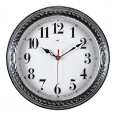 """2950-102 Часы настенные корпус черный с серебром """"Классика"""""""
