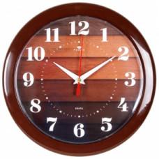 """2323-104 Часы настенные круг d=23см """"Паркет"""" корпус коричневый"""