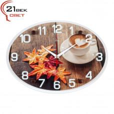 """2434-963 Часы настенные """"Кофе и осенние листья"""""""